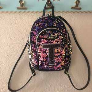"Justice mini sequin ""T"" backpack"